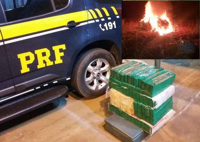 Agentes conseguiram recolher 95 kg de maconha; no detalhe o veículo pegando fogo - Assessoria PRF