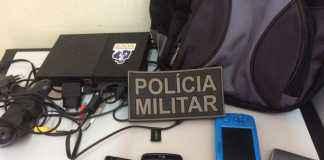 Produtos furtados pelo foragido e recuperados pela PM - Assessoria