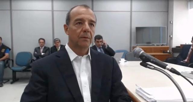 Sérgio Cabral durante depoimento ao juiz Sérgio Moro - Foto: Reprodução