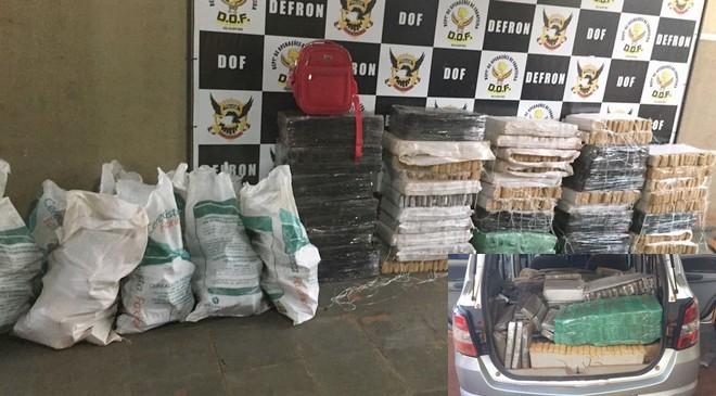 Foram apreendidos 960 quilos de maconha; no detalhe o veículo, que havia sido roubado em Aparecida de Goiânia, GO – Fotos: DOF