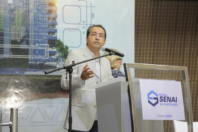 Amarildo Miranda Melo, presidente do Sinduscon/MS, na inauguração da Escola Senai da Construção - Assessoria