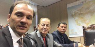 Junior Rodrigues, Bebeto e Olavo Sul durante reunião com ministro - Divulgação