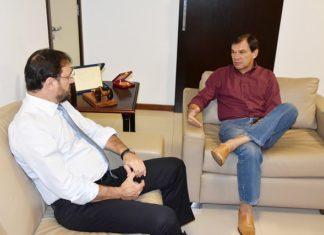 Sérgio Longen se reuniu nesta quarta-feira com o presidente do TRT/MS, desembargador do trabalho João de Deus Gomes de Souza - Assessoria
