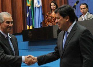 Governador Reinaldo Azambuja e ministro Mendonça Filho durante posse da diretoria do Crie-MS – Foto: Chico Ribeiro