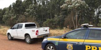 Um dos veículos recuperados, I/Toyota Hilux, que tinha registro de roubo/furto no dia 05/07/2017, em Aracaju/SE – Foto Divulgação PRF