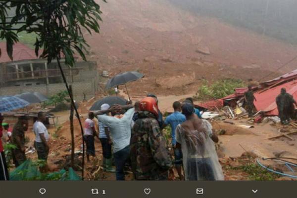 Deslizamento de terra em Serra Leoa foi nesta segunda-feira - Foto: Reprodução/Twitter