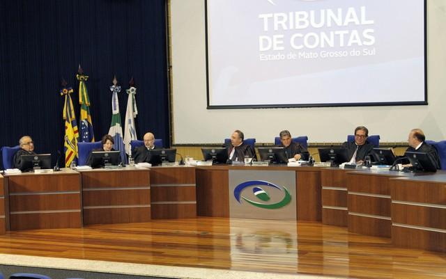 Conselheiros do TCE-MS durante sessão do Pleno realizada na tarde desta quarta-feira, 16 – Foto: Roberto Araújo