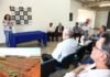 Solenidade de assinatura do Termo de Cooperação técnica ocorreu no saguão do Estabelecimento Penal Semiaberto em Dourados; no detalhe, a horta - Fotos: A. Frota