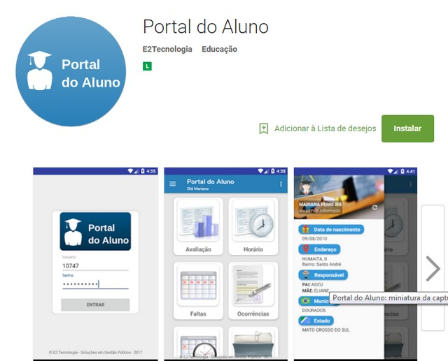 Portal do Aluno, que será lançado na tarde de segunda, permitirá aos pais acompanhar a vida escolar dos filhos pela Internet - Reprodução