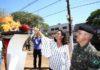 Prefeita Délia Razuk durante solenidade de acendimento da Chama da Pátria - Foto: A. Frota
