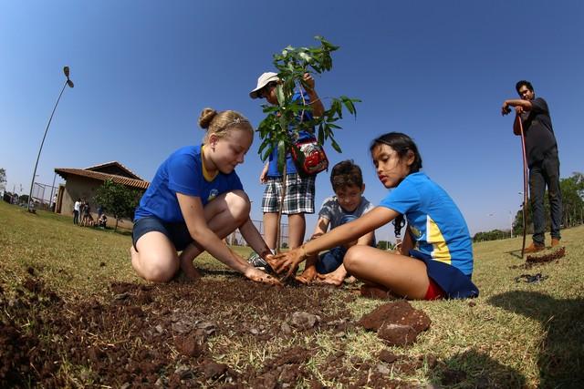 Alunos da rede municipal participaram do plantio de mudas no Parque Rego D'Água – Foto: A. Frota