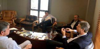 Governador Reinaldo Azambuja e secretário Jaime Verruck se reuniram com diretores do Marfrig em São Paulo - Divulgação