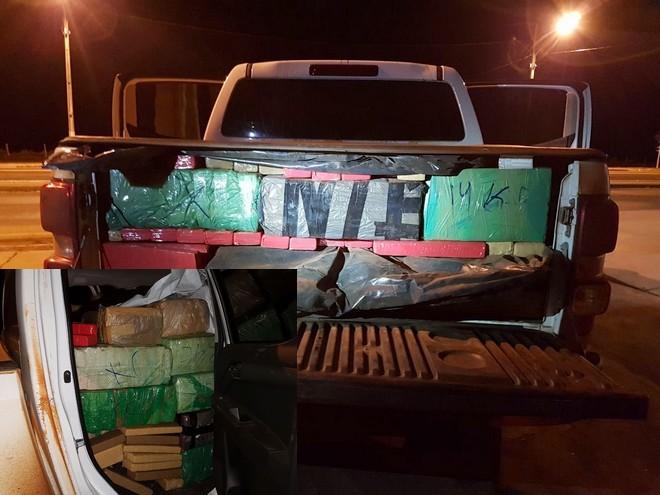Veículo estava abarrotado de maconha; droga pesou 1.247,45kg – Divulgação PRF
