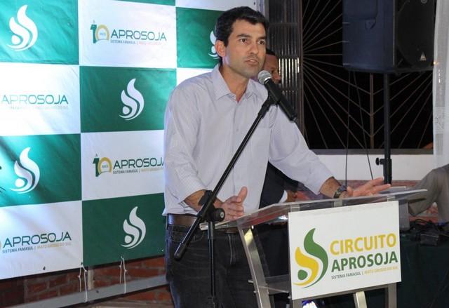 Christiano Bortolotto, presidente da Aprosoja/MS, durante a abertura do circuito em Maracaju - Foto: Assessoria Aprosoja/MS