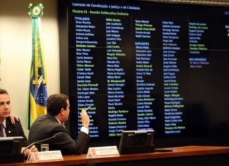 A CCJC aprecia parecer do deputado Bonifácio de Andrada pela inadmissibilidade da denúncia da PGR contra o presidente Michel Temer – Foto: José Cruz/Agência Brasil