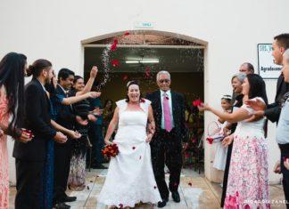 Vicente Pereira Leme, 78 anos, e Maria do Carmo, 59, se casaram na última quarta-feira - Divulgação