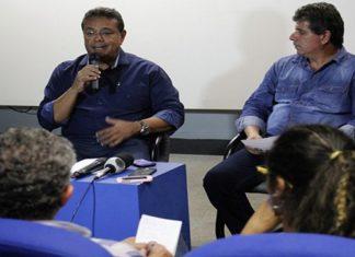 Adiamento do Festival foi anunciado pelo secretário Athayde Neri e o prefeito de Corumbá, Ruiter Cunha de Oliveira, em coletiva nesta quinta-feira – Foto: Chico Ribeiro