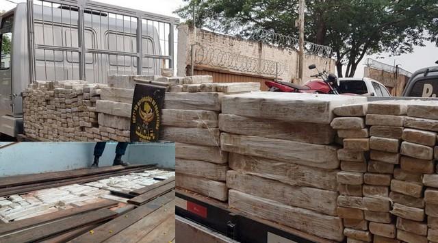 Droga apreendida pesou 606 quilos; no detalhe o fundo falso – Divulgação DOF