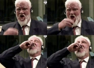 Bósnio-croata Slobodan Praljak teria tomado veneno durante julgamento em Haia, nesta quarta-feira (29) - Foto: International Criminal Tribunal for the former Yugoslavia / AFP