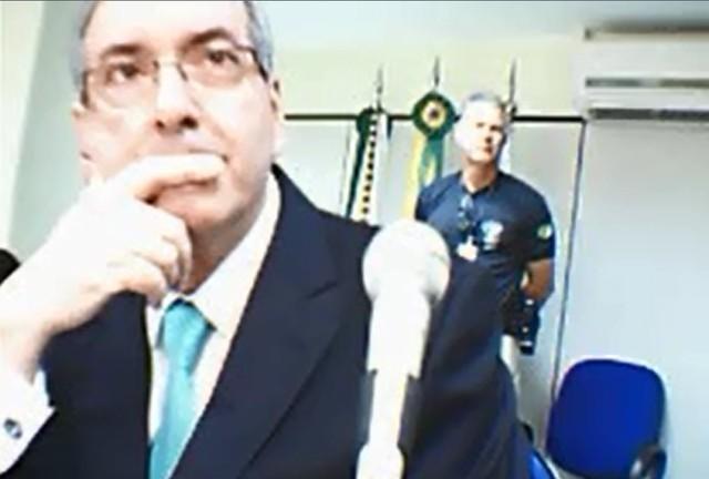 Eduardo Cunha durante depoimento à Justiça Federal em Brasília - Foto: Reprodução / Justiça Federal