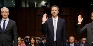Stretch, do Facebook; Edgett, do Twitter; e Salgado, do Google, testemunham no Senado americano nesta terça – Foto: Reuters