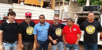 Sindicalistas reunidos no protesto – Divulgação