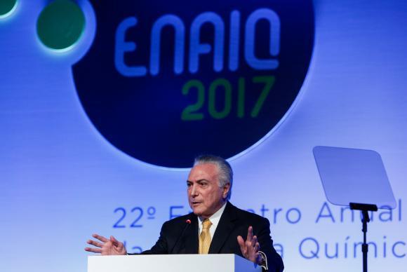Presidente Michel Temer durante cerimônia de abertura do 22º Encontro Anual da Indústria Química – Foto: Alan Santos/Presidência da República